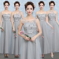 Wholesale Bridesmaid Clothes - 4 Colors 5 patterns 2017 New Women wedding clothes Sexy slim Sweety Special Occasion party gown sisters long Bridesmaid dress