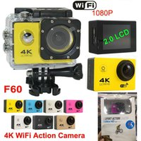 "Wholesale Used Pro Video Cameras - Action camera F60 Video Camera 4K HD 1080P sport WiFi 2.0"" 170D Helmet Cam underwater go waterproof pro camera 10pcs DHL Free JBD-M7"