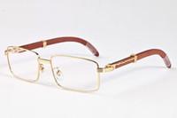 Wholesale Donna Brown - 2017 men buffalo horn sun glasses for men wooden woods sunglasses black gray brown clear lenses occhiali donna relogio