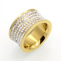 Wholesale Fashoin Jewelry - 5 Row Brand Crystal Jewelry Fashoin Women Men Unisex Luxury 11mm Wide Rings Wholesale Gold Color Stainless Steel Wedding Rings