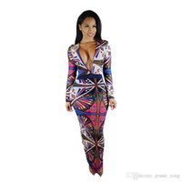 Wholesale Tribal Tattoos Sleeves - New Arrival Long Sleeve Tribal Tattoo Geometric Printed Dress Sexy Deep V Neck Bodycon Bandage Club Party Maxi Dresses for Women