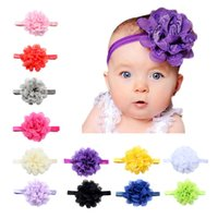 Wholesale Hairband Crochet Ribbon - Lovely Baby Fashion Headbands Party Decoration Kids Hair Ribbons Accessories Multicolor Chiffon Flower With Soft Elastic Crochet Hairband