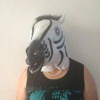 Wholesale Horse Head Mask Wholesale - NEW Funny Zebra Latex Head Mask Cosplay Animal Halloween Party Costume Prop Deluxe Zebra Costume Horse Zoo Safari Animal