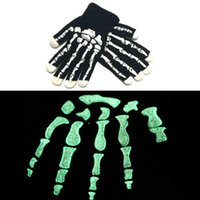 Holloween Night Luminous Gloves Mulheres Homens Inverno Warm Knitting Esqueleto Ghost Claw Five Fingers Luvas Cosplay Presentes de Luvas de Natal