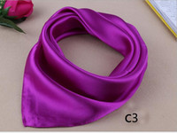 Wholesale Silk Charm Scarves - High Quality Solid New Women Silk Scarf Charming Female Long Pashmina Shawl Scrafs Square Scarf