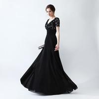 Discount pleat fabric - 2017 Free Shipping Prom Dresses vestidos de noiva Short Sleeves V Neck Appliques Formal Evening Dresses Chiffon Fabric