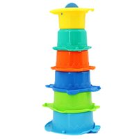 Atacado- Kids Funny Piles Cup Baby Bath Toy Stacking Pile Up Tower Count Copos Count Number plástico ABS Letter Toy para crianças