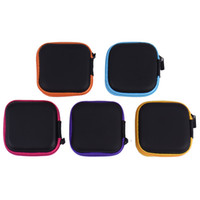 Wholesale sd tf card headphones - Portable Case for headphones Case Mini Zippered Round Storage Hard A Bag Headset box for Earphone Case SD TF Cards Earphone Bag