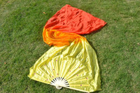 Wholesale Hand Made Bamboo Fan - 1.8m Hand Made Gradient Color Belly Dancing Bamboo Long Silk-like Fans Veils Dance Fan Stage Performance ZA4204