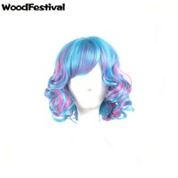 Wholesale Wigs Rose Red - WoodFestival women curly synthetic wigs blue rose red mix color ombre wig short heat resistant fiber wigs bangs