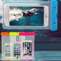 Wholesale Inflatable Mobile Phone - Can glow Hot Luminous Clear TPU Inflatable Waterproof Mobile Phone Bag with Strap Dry Pouch Cover for Mobile phone