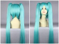 Wholesale vocaloid full cosplay resale online - MCOSER Anime cm Long Straight Blue Vocaloid Miku Hair Synthetic High Quality Girl s Party Cosplay Full Wig