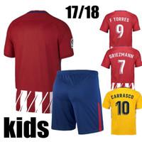 Wholesale Kids Green Socks - 2017 2018 AtletIco de MadrId Home AWAY Kids Kits GODIN GRIEZMANN koke Soccer Jersey GABI Carrasco Child FOOTBALL Uniforms With Socks