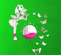 Wholesale Wholesale Girls Bedroom Sets - Wholesale- Diy Three-dimensional Butterfly Girl Mirror Wall Clock for home children Bedroom decoration DIY Wall Sticker