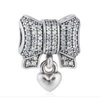 TopeasyJewelry Winter New Shimmering Pave CZ Bow encantos com coração pingente 925-sterling-silver Fine Jewelry Fit Charm Pulseira DIY
