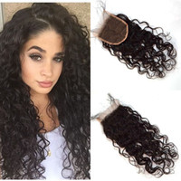 Wholesale bleached way part human hair for sale - Group buy Lace Closure x4 with Bleached Knots Malaysian Human Hair Middle Free Way Part Water Wave Cheap Closures FDSHINE