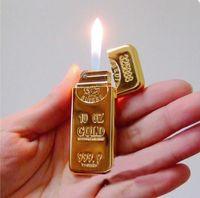 Wholesale Thin Flame Lighter - Fashion Creative Gold bar Grinding wheel Cigarette lighter Ultra thin Men cigarette lighter Metal Windproof flame lighter b418