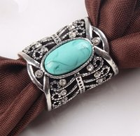 Wholesale Vintage Buckle Turquoise - Wholesale- 2015 Fashion Accessories Bohemia Vintage silver bronze Turquoise Brooch Scarf Clips Lapel Pins Scarf Buckle Wedding Brooch