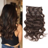 Full Head Curly Clip In / On Hair Extensions Double Weft 7pcs / set Clip In Human Hair Blond Brown Black En option Livraison gratuite