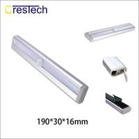pil ile çalışan pir sensörü toptan satış-LED gece lambası PIR Hareket Sensörü 10 LED gece vücut akülü Kabine Dolap Parlak ışık
