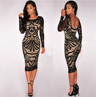 Wholesale Floral Cocktail Dresses - Womens Sexy Bodycon Bandage Dresses Evening Cocktail Party Long Sleeve Lace Pencil Dress Casual Sexy Lace Floral Dresses Women's Clothing