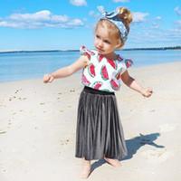 gelinlik plaj kızı toptan satış-Yaz Toddler Bebek Kız Çocuk Prenses Altın Kadife Elbise Düğün Parti Plaj Tül Kat Tutu Pileli Etek Çocuk 2-7Years Sıcak