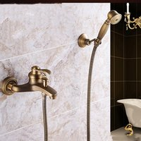 Wholesale Antique Finish Shower Faucets - Antique Copper Shower Faucet Tub Faucet Antique Brass Finish with Hand Shower Ceramic Valve Two Handles Three Holes