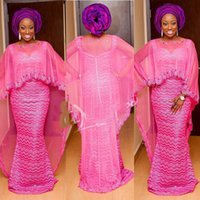 ingrosso giacche formali di usura-Abiti da sera a sirena color rosa plus size Abiti da sera con perline in stile Ebi con rivestimento trasparente in tulle avvolgere abiti da cerimonia donna sudafricana