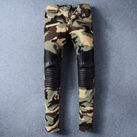 Wholesale Camouflage Pants For Plus Size - Men's Camo Skinny Biker Jeans Famous Brand Camouflage Designer Slim Fit Mens Motorcycle Moto Biker Hip Hop Denim Pants For Men N53