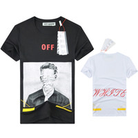 Wholesale Clothing Paint Spray - 2017 Spring summer Europe T-shirt tee streets off white figure stripes Spray painting High street fashion clothing black white XL