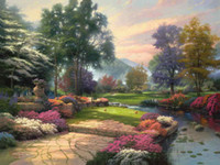 Wholesale Painted Paradise - Living Waters Golfer Paradise Hole One Thomas Kinkade Oil Paintings Art Wall Modern HD Print On Canvas Decoration No Frame
