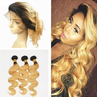 Wholesale Two Color Frontal Closure - Ombre Hair With 360 Lace Frontal Two Tone 1B 27 Honey Blonde Ombre Body Wave Virgin Human Hair Bundles With Lace Band Closure