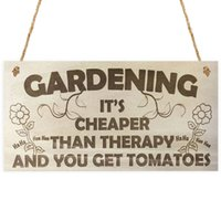 Wholesale Getting Cheaper - Wood Sign Plaque - Gardening It's Cheaper Than Therapy And You Get Tomatoes 6 x 12 Chalkboard Sign