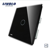 Wholesale Tempered Glass Touch Switch - LS-LIVOLO, Touch Switch, 1-gang 2-way Touch Light UK Switch VL-C301S-62 with LED indicator, Black Crystal Tempered Glass Panel
