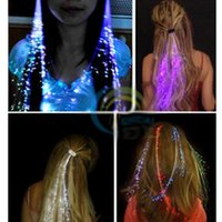 Wholesale Optical Fiber Led Toy - 50pcs lot Glow Blinking Hair Clip Flash LED Braid Show Party Decoration Colorful Luminous Braid Optical Fiber Wire Hairpin