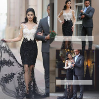 ingrosso vestiti eleganti bianchi di promenade del manicotto-2017 New Elegante Appliques di pizzo Sheer Mermaid Prom Dresses Maniche lunghe che bordano abiti bianchi e neri Evening Wear Arabo Cheap Party Gown