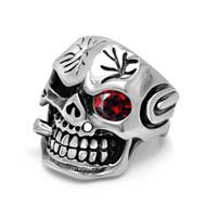 Wholesale Ruby Skull Ring - Stainless steel men ring ruby Skeleton Skull latest finger desgins free shipping
