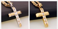 Wholesale Gold Plated Byzantine Necklace - 50MM Length * 32mm Width Fashion Women Mens Chain Cross Pendant With pebble Byzantine Stainless Steel Pendent Necklace Gift