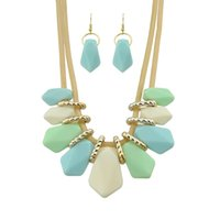 Wholesale Earring Three Color - New Trendy Jewelry Set Plant Shape Imitation Gemstone Three Color Choker Statement Neckalce Drop Earrings Sets