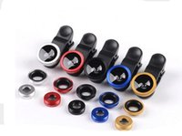 Wholesale Glass Eye Camera - 2017 new 3 in 1 Universal Clip Fish Eye Wide Angle Macro Phone Fisheye glass camera Lens For iPhone Samsung Best quality+Retail packaging