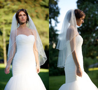 Wholesale Short Tier Wedding Veils - 2018 Newest Double Tier Fingertip Blusher Wedding Veil With Corded Satin Trim Top Quality Tulle Short Bridal Veils Accessories