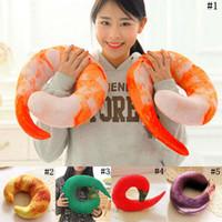 Wholesale Shrimp Toys - Shrimps Hold Pillow U-shaped Pepper Travel Pillows Cartoon Throw Pillow Neck Nap Pillow Kids Stuffed Animals Plush Toys 5 Styles OOA3377