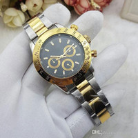 Wholesale Gold Sub Watch - All Sub-dials work Mens Fashion watch Luxury brand Full Stainless Steel band Mechanical Automatic watches For men male best gift wristwatch