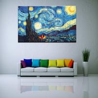 печать на холсте оптовых-Огромный холст стены искусства Звездная ночь по Vincent Van Gogh Giclee Fine Print on Canvas Picture Wall Decor Art для гостиной-холст Живопись