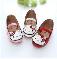 Wholesale Girls Dress Patterns Free - Girls PU Shoes Cartoon Cat PU Shoes Children Fashion Princess Shoes Cartoon Pattern 3 Colors 5p l free shipping