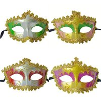 Wholesale princess face painting resale online - Halloween party party with Venetian half face with painted border princess mask