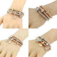 Wholesale Spacer Bars For Jewelry - Three-color stretch bangles bracelet sets crystal rhinestone music note butterfly Square spacer Charms bracelets For women's Fashion Jewelry