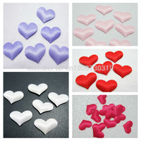 Wholesale Padded Appliques Hearts - Wholesale- 50 pieces lot 20mm Padded Felt Heart Applique Sewing wedding decoration Trim DIY A07