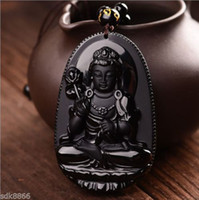 Wholesale Exquisite Chinese Carving - New natural beautiful Jewelry Chinese Exquisite China 100% Natural A black Obsidian hand Carved Mahasthamaprapta pendant