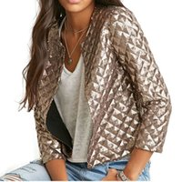 New Fashion Women J Lozenge Gold Sequins Vestes courtes Three Quaters Sleeves Outwear Coats Femmes Vestes décontractées Plus Size